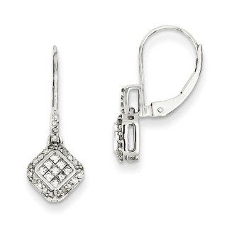14k White Gold Small Diamond Leverback Earrings. Carat Wt  0.38ct Jewelry