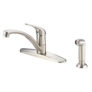 Danze Melrose Single Handle Kitchen Faucet with Spray in Stainless Steel D407112SS