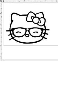 Hello Kitty Like Geek Nerd Glasses Wink Car Window Vinyl Decal Sticker   You Pick Color
