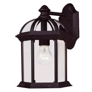 Illumine 1 Light Wall Mount Lantern Textured Black Finish Clear Beveled Glass CLI SH202852879