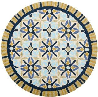 Safavieh FRS449A 4R Four Seasons Collection Indoor/Outdoor Round Area Rug, 4 Feet in Diameter, Tan and Blue