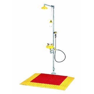 "Wearwell PVC 465 Slip Resistant Emergency Shower Mat with 6"" Beveled Edges, for Wet and Dry Areas, 30"" Width x 36"" Length x 7/8"" Thickness, Red / Yellow Science Lab Matting"