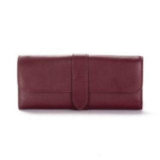 Jewelry Roll with Snap   Burgundy Leather (red)   Full Grain Leather   Jewelry Trays