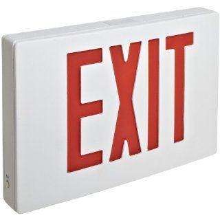 Morris Products 73348 Cast Aluminum LED Exit Sign, Red Letter Color, White Face Color, White Housing Finish Job Site And Security Lighting