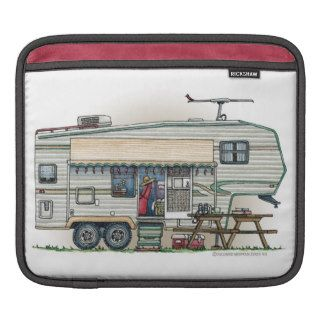 Cute RV Vintage Fifth Wheel Camper Travel Trailer Sleeve For iPads