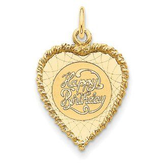 14K Happy Birthday Charm   Measures 28.4x18.4mm   JewelryWeb Jewelry