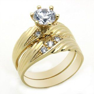 14K Engagement Ring 1ctw CZ Cubic Zirconia Solitaire Ring Set Yellow Gold Ring Jewelry