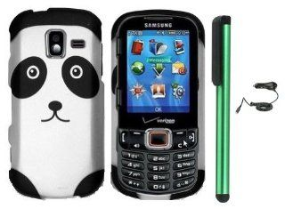 "Black Silver Panda Bear Premium Design Protector Hard Cover Case Compatible for SAMSUNG Intensity 3 III U485 (Verizon) Android Smart Phone + Luxmo Brand Car Charger + Combination 1 of New Metal Stylus Touch Screen Pen (4"" Height, Random Color  Black,"