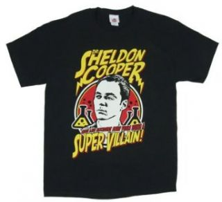 Dr. Sheldon Cooper Super Villain   Big Bang Theory T shirt Adult Small   Black Fashion T Shirts Clothing