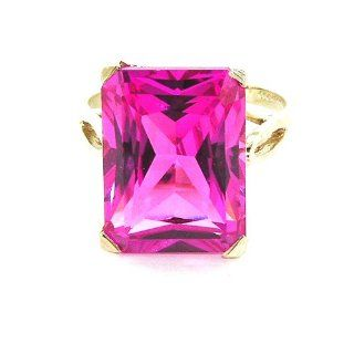 Luxury Solid 14K Yellow Gold Large 16x12mm Octagon cut Pink Sapphire Ring   Finger Sizes 5 to 12 Available   Perfect Gift for Birthday, Christmas, Valentines Day, Mothers Day, Mom, Mother, Grandmother, Daughter, Graduation, Bridesmaid. Jewelry