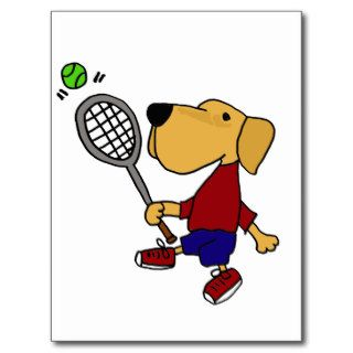 XX  Yellow Labrador Retriever Dog Playing Tennis Postcard