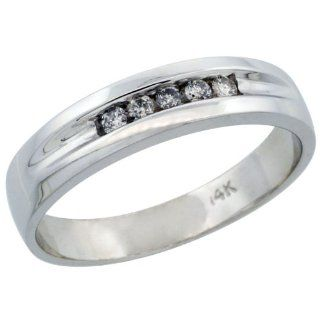 10k White Gold Men's Diamond Ring Band w/ 0.14 Carat Brilliant Cut Diamonds, 1/4 in. (6mm) wide, Size 12 Jewelry