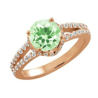 1.75 Ct Round Green Amethyst White Sapphire Rose Gold Plated Silver Ring Jewelry
