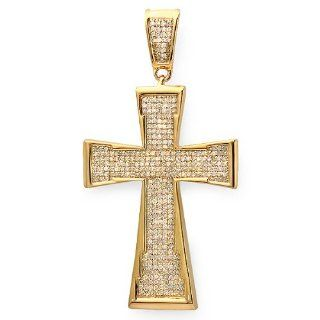 1.00 Carat (ctw) 18k Yellow Gold Plated Sterling Silver Micro Pave Diamond Mens Hip Hop Religious Cross Pendant Jewelry