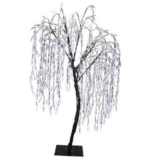 8' Pre Lit Christmas Willow Tree Outdoor Yard Art Decoration   Cool White LED Lights  Patio, Lawn & Garden