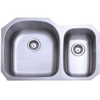 Gourmetier KU322097DBN Seattle Stainless Steel Dual Level Under mount Kitchen Sink, Brushed Nickel   Double Bowl Sinks