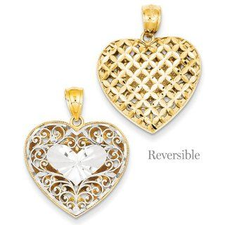 Reversible Filigree And Basket Weave Heart 14K Two tone Gold Pendant Jewelry