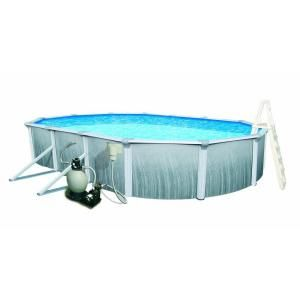 Swim Time Martinique 15 ft. x 30 ft. Oval 52 in. Deep 7 in. Top Rail Metal Wall Swimming Above Ground Pool Package NB3123