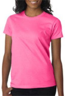 Gildan Ladies' T Shirt Safety Pink (50/50) 2Xl