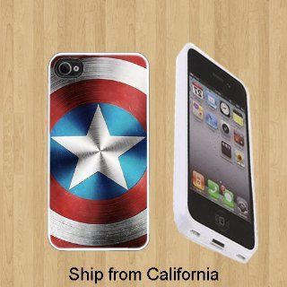 Captain America Shield Custom Case/Cover FOR Apple iPhone 5** WHITE** Rubber Case ( Ship From CA ) Cell Phones & Accessories