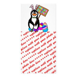 Easter Penguin with Colored Eggs Custom Photo Card