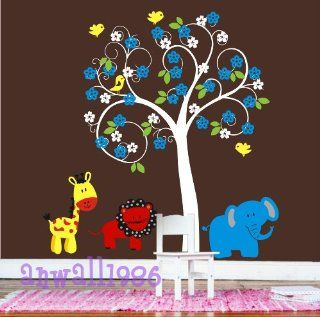 Romantic Curly Tree with Flowers Birds Leaf Bird Lion Baby Room House Home Wall Sticker Art Murals Stickers Decal Decor Kid Removeable