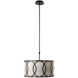 Hampton Bay Davenport 3 Light 18 in. Oil Rubbed Bronze Metal Overlay Drum Pendant ES4764OB4 A