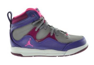 Jordan Girls Flight TR'97 (PS) Little Kids Basketball Shoes Electric Purple/Pink Cement Grey Raspberry 599940 509 12.5 Shoes