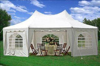 29'x21' Decagonal Wedding Party Tent Canopy Gazebo Heavy Duty Water Resistant White  Family Tents  Patio, Lawn & Garden