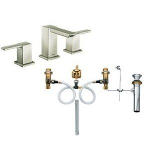 Moen TS6720BN 9000 Brushed Nickel 90 Degree Double Handle Widespread Bathroom Faucet and Rough In Valve from the 90 Degree Collection TS6720 9000   Bathroom Sink Faucets