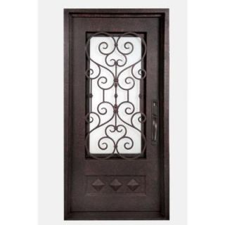 Iron Doors Unlimited Vita Francese 3/4 Lite Painted Antique Copper Decorative Wrought Iron Entry Door IV4082LSCS