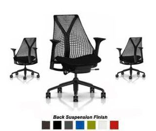 Herman Miller Sayl Chair Home Office Desk Task Chair   SAYL Work Chair with Fully Adjustable Black Arms, Tilt Limiter, Adjustable Seat Depth, Black Y Tower Back and Base, No Adjustable Lumbar Support, Black Back Rest Suspension, Black Crossing Fabric Seat