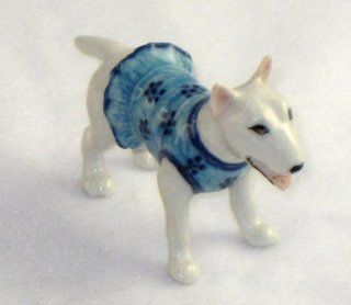 BULL TERRIER Dog White N Blue/Flower Dress MINIATURE New Porcelain FIGURINE KLIMA L507A   Collectible Figurines