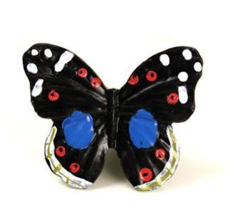 UniDecor Resin Cabinet Hardware Butterfly Shape Knob 10 pcs/lot Black Multicolored 508 (Length 1.77 inch 45mm Width 1.57 inch 40mm)