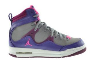 Jordan Girls Flight TR'97 (GS) Big Kids Basketball Shoes Electric Purple/Pink Cement Grey Raspberry 599939 509 4 Grey And Purple Girls Basketball Shoes Shoes
