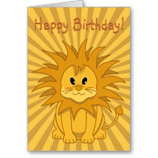 Little Lion Cute Cartoon Cat Happy Birthday Card