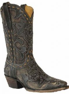 Star Boots Stella Leather Cowboy Inlay W7146 Womens Black Shoes