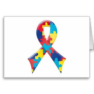 Autism Awareness Ribbon A4 Cards