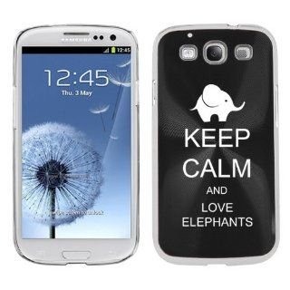 Black Samsung Galaxy S III S3 Aluminum Plated Hard Back Case Cover K1192 Keep Calm and Love Elephants Cell Phones & Accessories