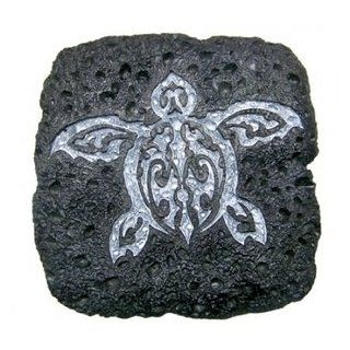 Hawaiian Coasters Lava Rock Petroglyph Square Tribal Honu 4 Pack Kitchen & Dining