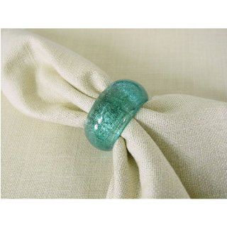 Solid Turquoise Aqua Glass Colored Napkin Rings Handmade, 6 Kitchen & Dining
