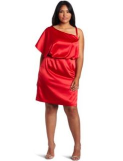 Jessica Simpson Women's Plus Size One shoulder Dress, Red, 18W
