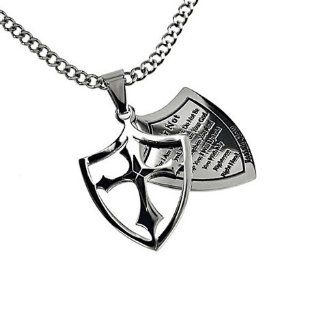 "Christian Mens Stainless Steel Abstinence 2 Piece Shield ""Fear Not   For I Am with You; Do Not Be Dismayed, for I Am Your God. I Will Strengthen You and Help You; I Will Uphold You with My Righteous Right Hand"" Isaiah 4110 Purity Necklace on a 2"