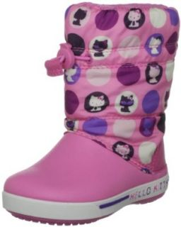 Crocs   Kids Girls CrocbandII.5 HelloKitty CCBoot Shoes, Size 3 M US Little Kid, Color Pink Lemonade/Purple Shoes