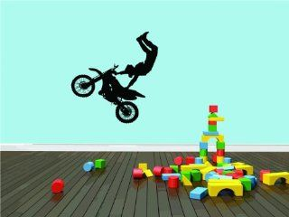 DAYCARE CLASSROOM Dirt Bike Trick Boy Girl Kids Childrens Picture Graphic Design Mural Vinyl Wall Peel & Stick   Best Selling Cling Transfer Decal Color 544Size  40 Inches X 40 Inches   22 Colors Available   Wall Decor Stickers