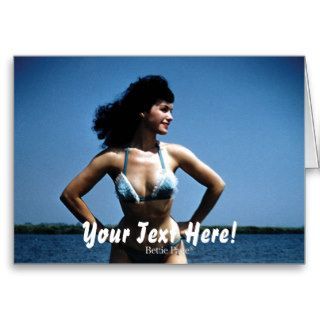 Bettie Page in a Blue Bikini Standing Beside Water Greeting Cards