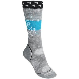 SmartWool PhD Snowboard Medium Socks   Merino Wool  Midweight  Over the Calf (For Women)   LIGHT GREY (L )