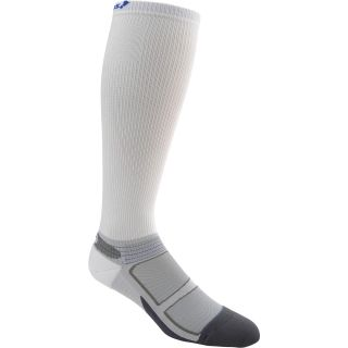 FEETURES Elite Light Cushion Compression Socks   Size Large, White/cobalt