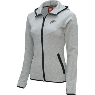 NIKE Womens Tech Fleece Full Zip Hoodie   Size Large, Dk Grey Heather/black