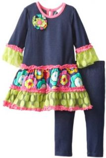 Rare Editions Baby Girls Infant Print Tiered Legging Set, Denim, 12 Months Clothing